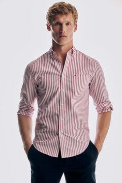 Pedro del Hierro Striped Tech Non-Iron cotton shirt Red