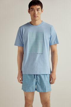 Pedro del Hierro Calções de banho estampagem geométrica com bolsa da marca Azul