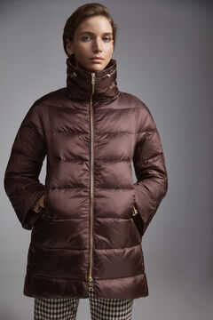 Pedro del Hierro Long ultralight wide collar jacket Brown