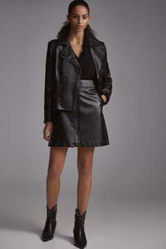 Pedro del Hierro Studded nappa leather skirt Black