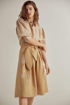 Pedro del Hierro Embroidered midi skirt Brown