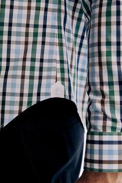Pedro del Hierro Checked Tech Non-Iron cotton shirt Green