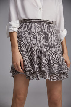 Pedro del Hierro Printed flounced short skirt Grey