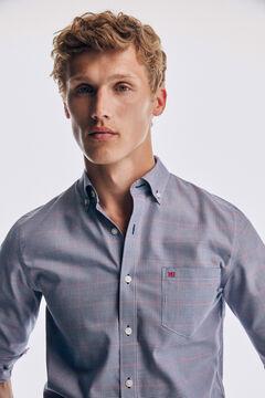 Pedro del Hierro Microcheck tech non-iron cotton shirt Blue