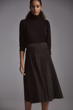 Pedro del Hierro Pleated lurex skirt Black