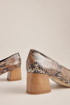 Pedro del Hierro Snakeskin heeled shoe Brown