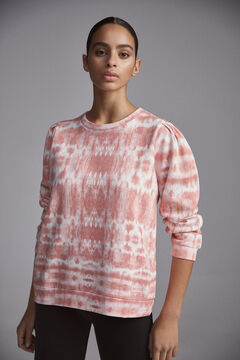 Pedro del Hierro Tie dye sweatshirt with puffed sleeves Pink