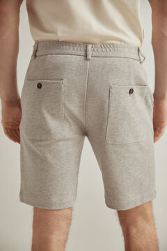 Pedro del Hierro Sustainable jersey-knit elasticated back waist Bermuda shorts Grey