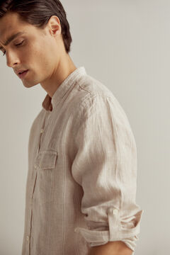 Pedro del Hierro At Home collection striped 100% linen mandarin collar shirt Beige