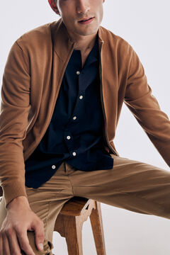 Pedro del Hierro Zip-up cardigan with pockets Beige