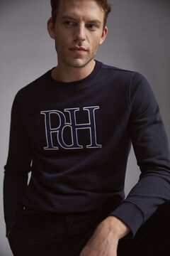 Pedro del Hierro Leather logo sweatshirt Blue