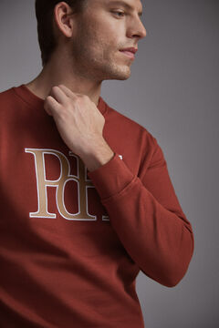 Pedro del Hierro Leather logo sweatshirt Red