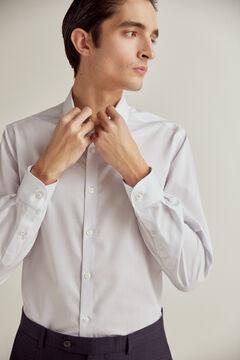 Pedro del Hierro Striped slim fit non-iron dress shirt Blue