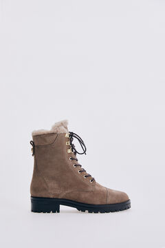 Pedro del Hierro Taupe suede leather lace-up ankle boot Brown