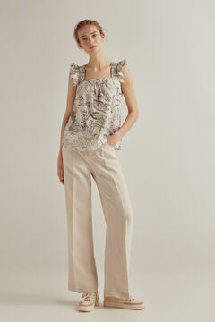 Pedro del Hierro Set of printed blouse and linen bootcut trousers
