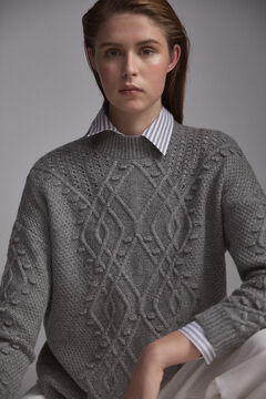 Pedro del Hierro Patterned jumper with bobbles and openwork Grey