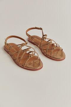 Pedro del Hierro Embossed leather sandal Yellow