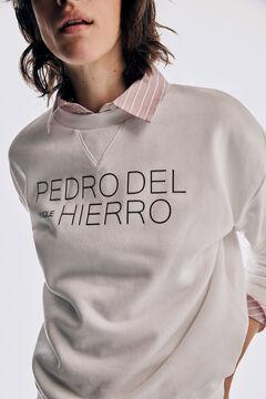 Pedro del Hierro Long-sleeved logo sweatshirt Ecru