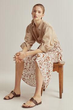 Pedro del Hierro ECOVERO printed midi skirt Brown