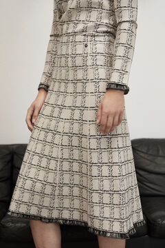 Pedro del Hierro Fringed jacquard skirt Ivory