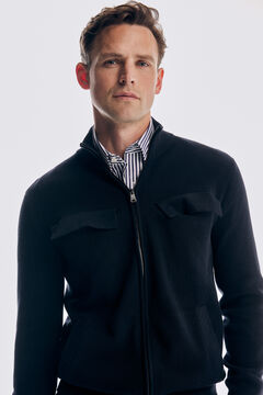 Pedro del Hierro Zip-up cardigan with four pockets Blue