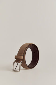 Pedro del Hierro plain casual split leather belt Beige