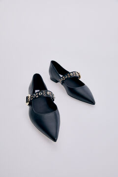 Pedro del Hierro Mary Jane leather ballet pumps Black