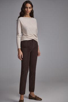 Pedro del Hierro Patterned skinny corduroy trousers Brown