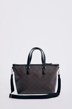 Pedro del Hierro Small brown canvas tote bag Black
