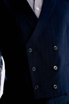 Pedro del Hierro Colete às riscas tailored fit Azul