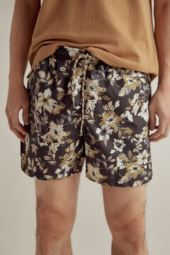 Pedro del Hierro Large floral print swimming shorts with branded bag Black