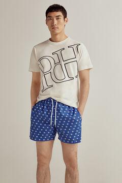 Pedro del Hierro Calções de banho estampagem logos da marca e com mala Azul