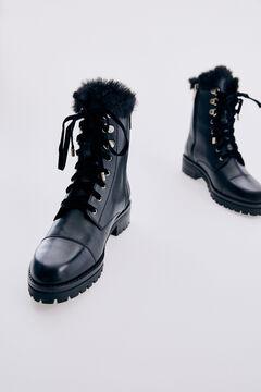 Pedro del Hierro Black nappa lace-up ankle boot Black