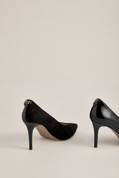 Pedro del Hierro Suede and patent leather heeled shoe Black