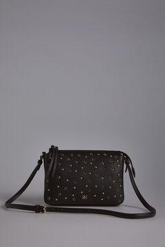 Pedro del Hierro Leather three compartment crossbody bag Black