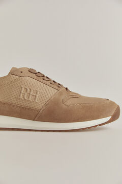 Pedro del Hierro Leather rubber-soled sneakers Beige