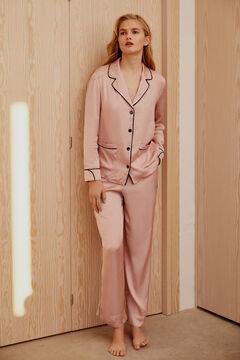Pedro del Hierro Contrast vivid satin pyjamas Pink