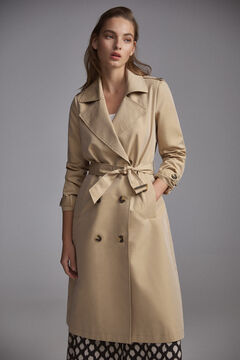 Pedro del Hierro Long belted trench coat Beige