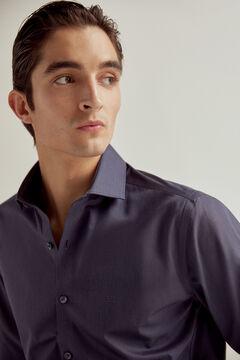Pedro del Hierro Plain slim fit non-iron dress shirt Blue