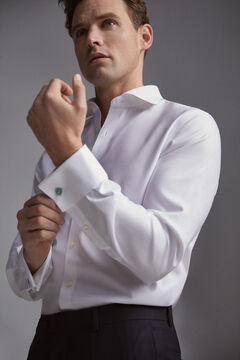 Pedro del Hierro Tailored fit tech-non iron dress shirt with cufflinks White
