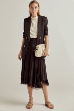 Pedro del Hierro Asymmetric pleated wrap skirt Black