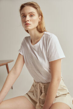 Pedro del Hierro Embroidered short-sleeved T-shirt White