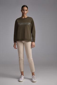 Pedro del Hierro Sweatshirt logo organic cotton studs Grey