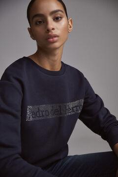 Pedro del Hierro Sweatshirt logo organic cotton studs Blue