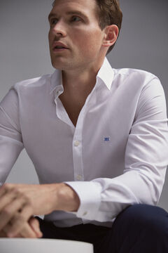 Pedro del Hierro Textured slim fit dress shirt White