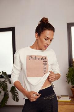 Pedro del Hierro Sudadera logo algodón orgánico Beige