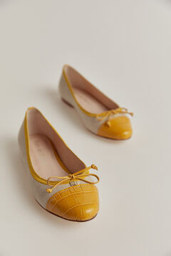 Pedro del Hierro Leather toe ballerina Yellow
