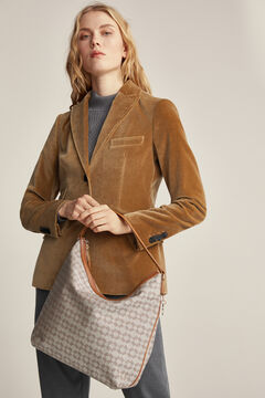 Pedro del Hierro Canvas and leather bag Beige