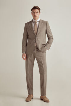 Pedro del Hierro Brown checked tailored fit blazer Beige