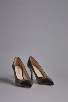 Pedro del Hierro Two-tone Snakeskin effect Court Shoe Black